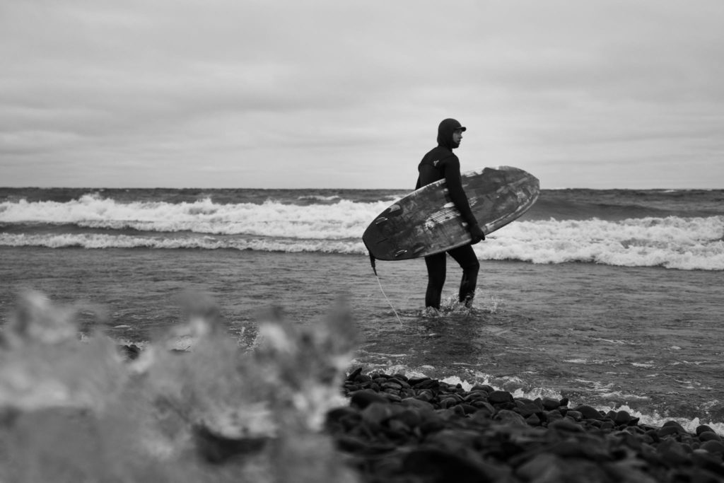 surfer on lake superior