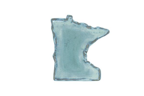 Light blue Minnesota shaped ceramic spoon rest