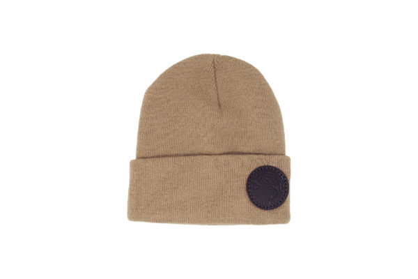tan Duluth Pack beanie with logo patch
