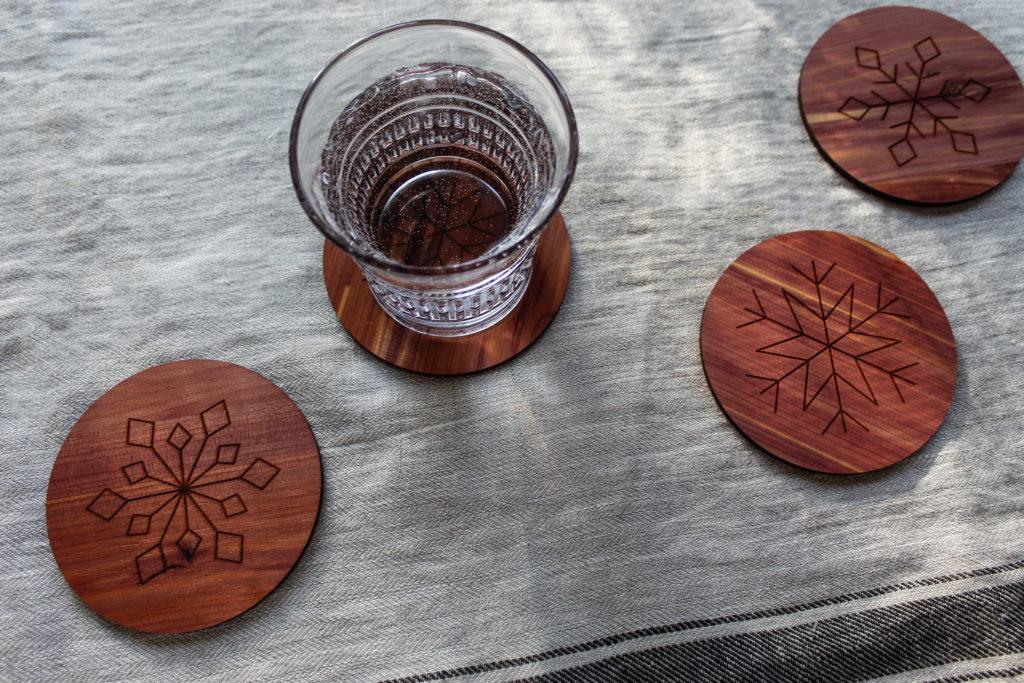 Wooden Snowflake Coasters