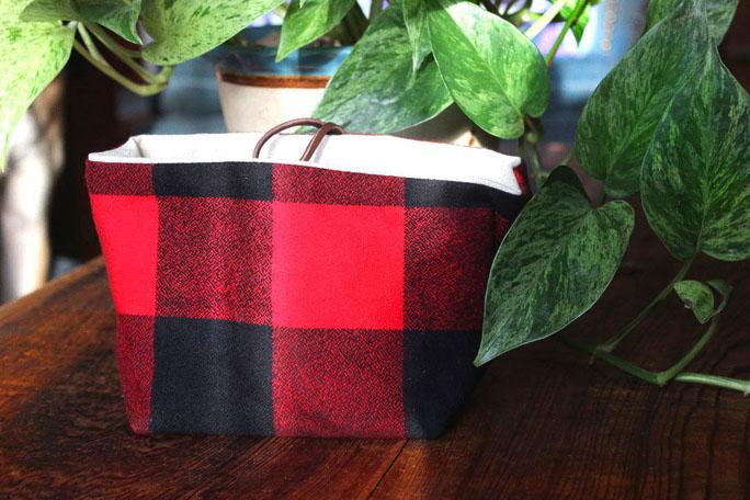 red plaid storage bag